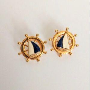 Vintage Avon Nautical  ships wheel earrings